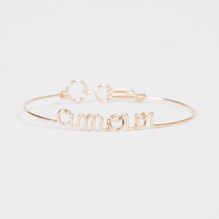 amour yellow gold permanent bangle studio emoi