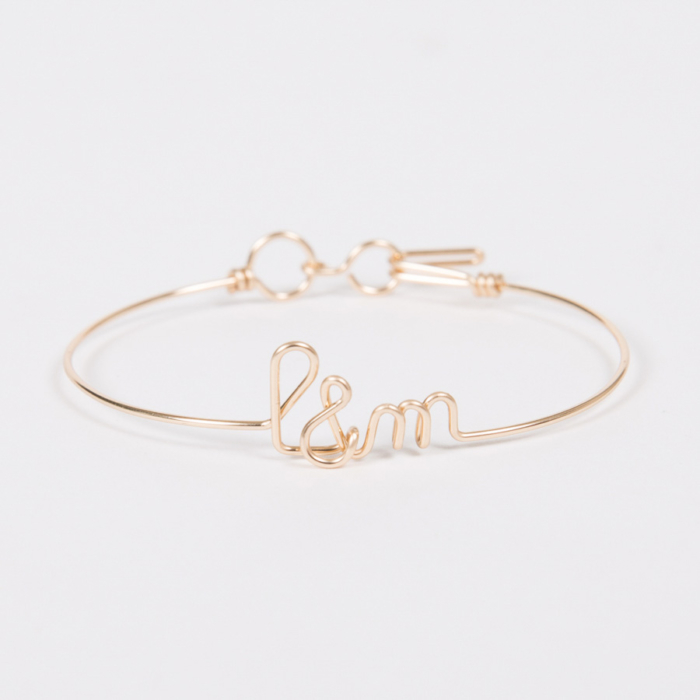 yellow gold initial custom bangle bracelet studio emoi