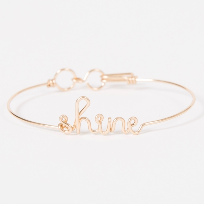 shine yellow gold permanent bangle bracelet studio emoi