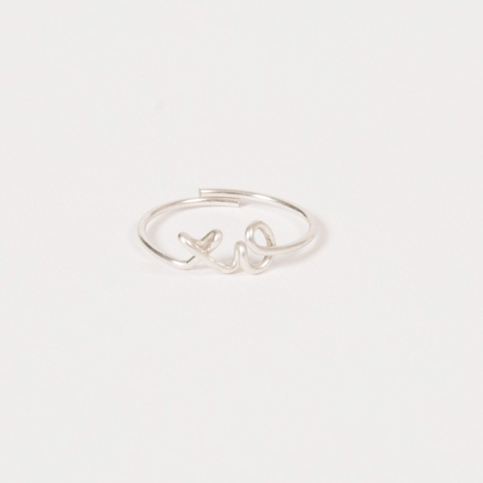 XO - Customised ring argentium silver 935