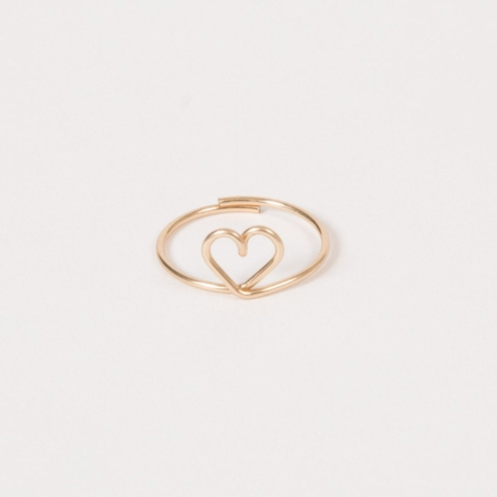 yellow gold permanent heart ring studio emoi