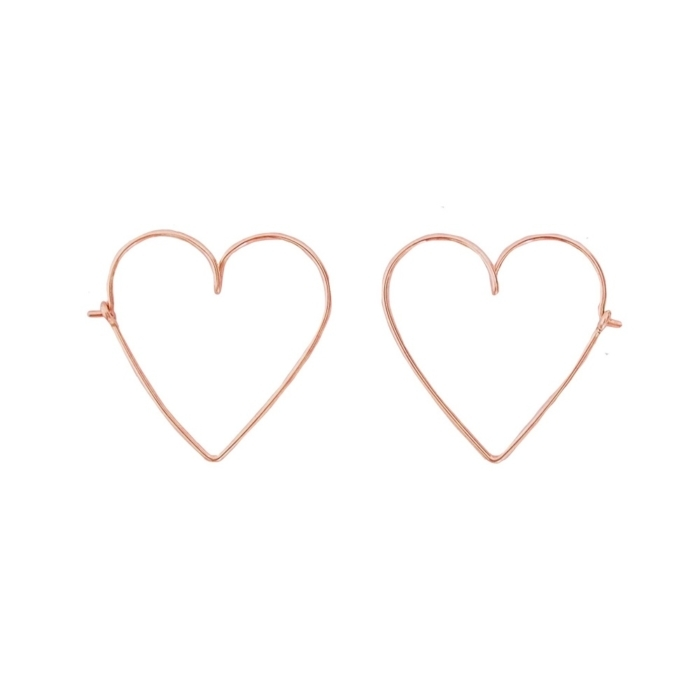 rose gold permanent heart hoop earrings studio emoi singapore