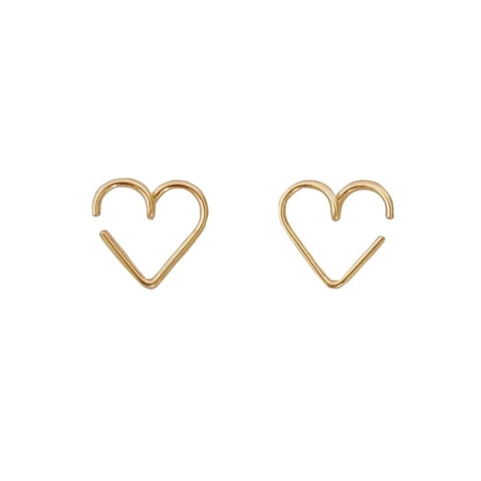 yellow gold permanent mini heart earrings studio emoi